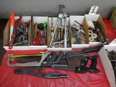 LOT: Assorted Hand Tools including Gear Pullers, Punches, Scissors, Saws, Soldering Iron, etc.