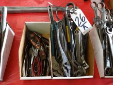 LOT: Wrenches, Pliers, Snips, etc. in (2) Boxes