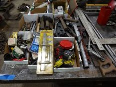 LOT: Assorted Hammers, Pliers, Screw Drivers, Measuring Tapes, Wire Brushes, Straight Edges, etc.
