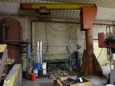 Detroit Hoist & Machine 2 Ton (approx.) Free Standing Jib Crane, with Electric Hoist (South Beloit)
