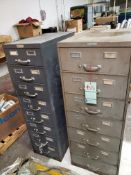 METAL CARD FILE CABINETS PLUS CONTENTS OF ASSORTED FUSES, HANDWARE AND MISC