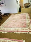 "PINK ORIENTAL AREA RUG 12'5"" X 8'9"""