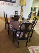 "DINING ROOM TABLE WITH 6 ORIENTAL STYLE CHAIRS. TABLE MEASURES 8'11"" X 43-1/2"""