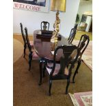 """DINING ROOM TABLE WITH 6 ORIENTAL STYLE CHAIRS. TABLE MEASURES 8'11"""" X 43-1/2"""""""