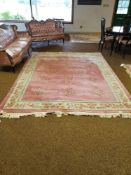 "PINK ORIENTAL AREA RUG 10'7"" X 8'"