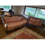 CUSTOM MADE (1986) FRENCH PROVINCIAL STYLE SOFA AND LOVESEAT