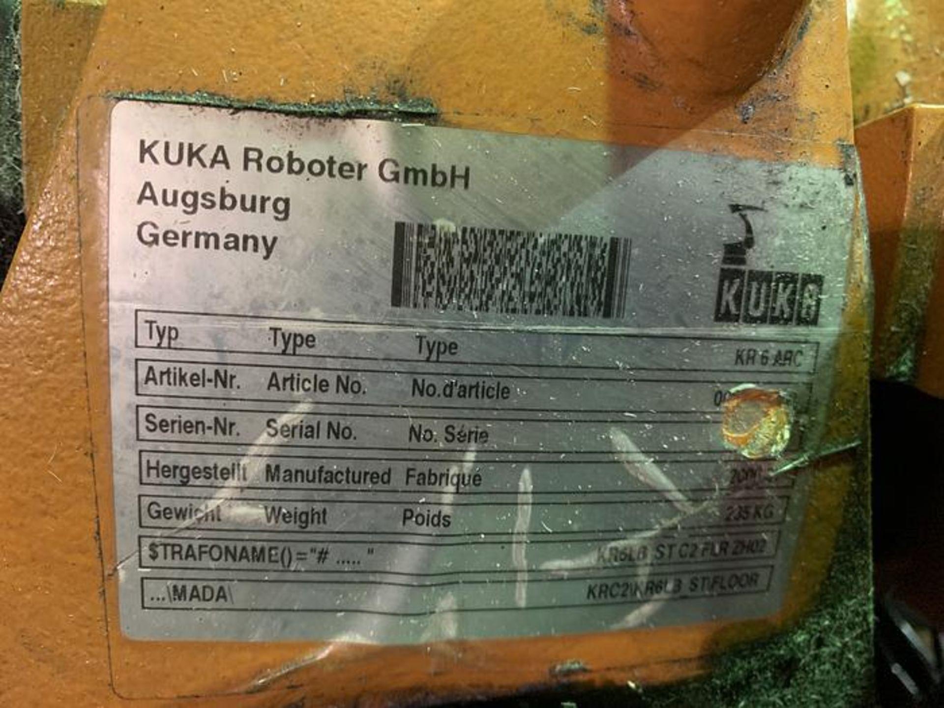 Lot 62 - KUKA KR6 ARC 6 AXIS CNC ROBOT 6KG X 1611MM W/KRC2 ed05 CONTROL, YEAR 2006, SN 880293/45203