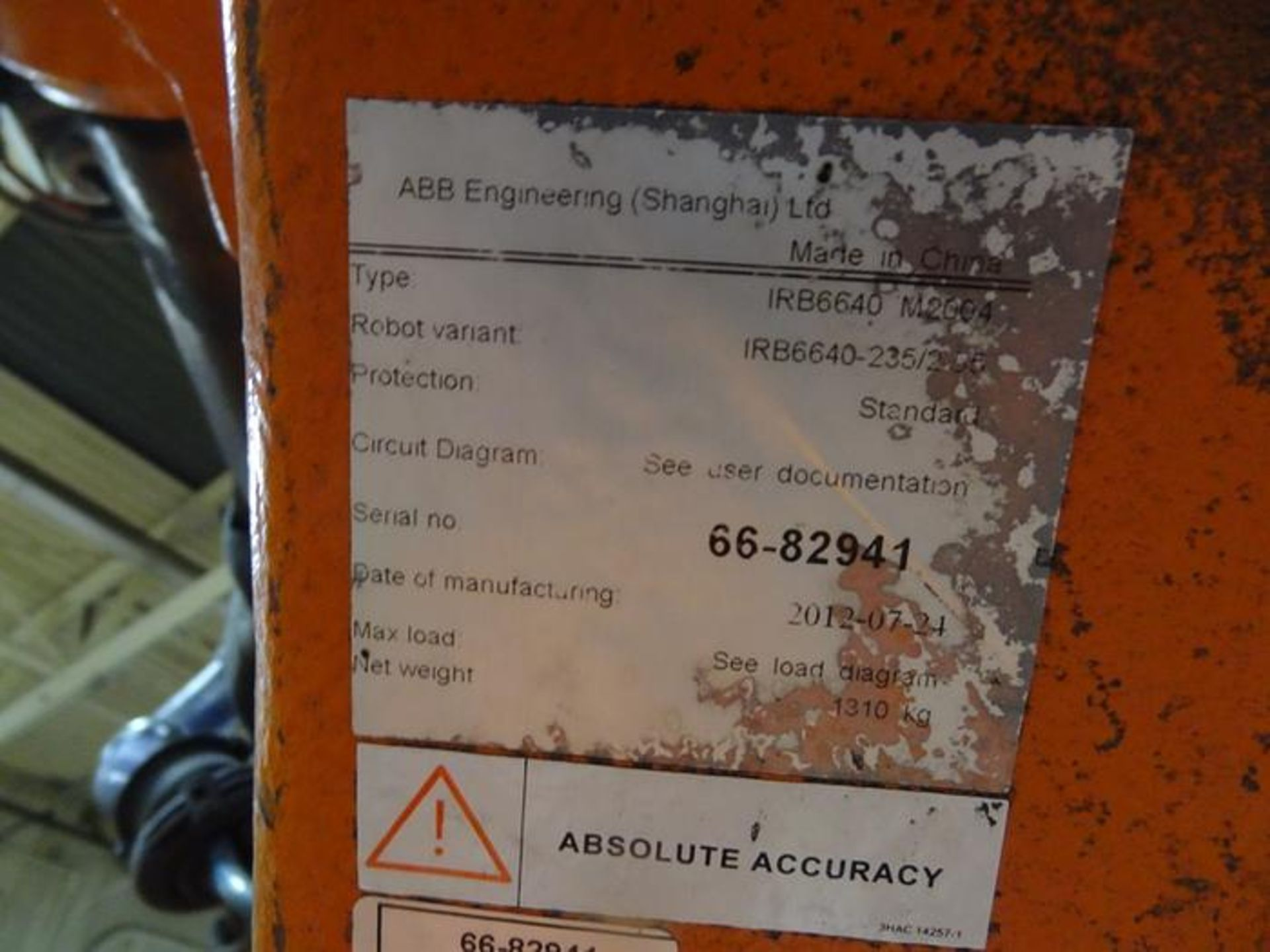 Lot 48 - ABB ROBOT IRB 6640 2.55/235KG WITH IRC 5 CONTROL, TEACH & CABLES, YEAR 2012 SN 66-82941