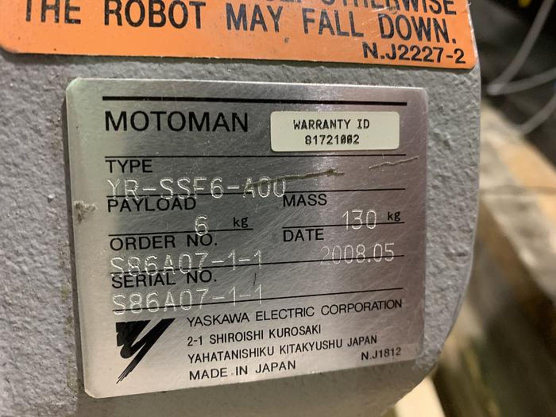 Lot 57 - MOTOMAN ROBOT SSF2000 6 KG X 1,378mm REACH 6 AXIS, W/ NX100 CONTROL, YEAR 2008, SN S86AO7-1-1