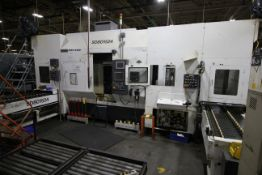 FUJI ANS 34 CNC LATHE, YEAR 2014 TWIN TURRET, TAIL STOCK AND GANTRY LOAD/UNLOAD STATIONS.