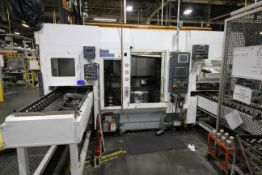FUJI MULTI AXIS CNC LATHE MODEL ANS320 WITH GANTRY LOADER & STOCKER TABLES, YEAR 2010