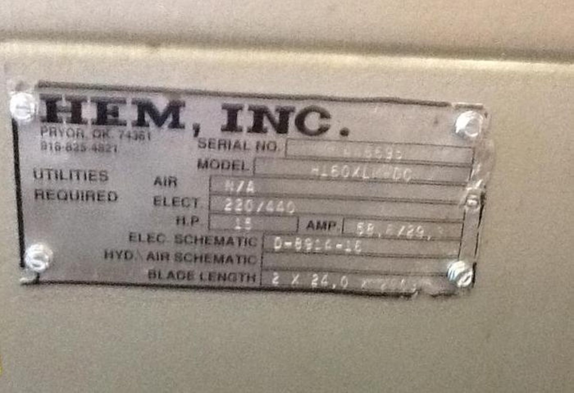 "HEM MODEL H160XLM-DC DOUBLE COLUMN HORIZONTAL BAND SAW, 25"" X 30"" CAPACITYSN 446695 - Image 7 of 7"
