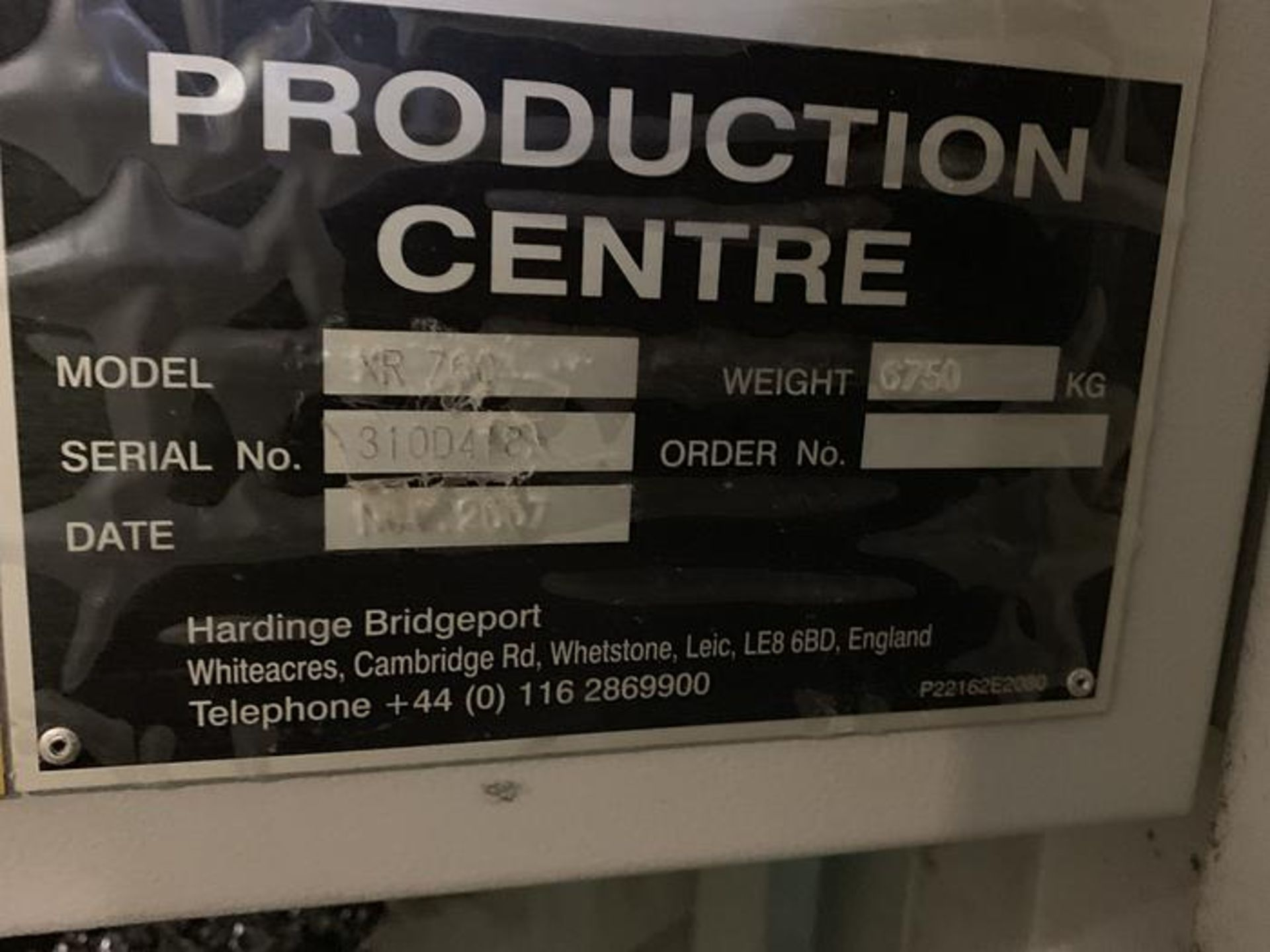 "HARDINGE BRIDGEPORT XR760 CNC VMC PRODUCTION CENTER 30""X24""X24"". YEAR 2007, SN 310D418 - Image 14 of 16"