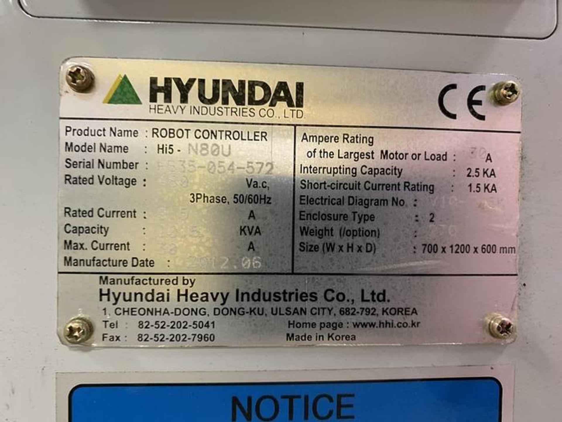 HYUNDIA MODEL HX400 400KG X 2573MM Hi5-N80U CONT. 6 AXIS CNC ROBOT, YEAR 2012, SN HB35-054-572 - Image 16 of 21
