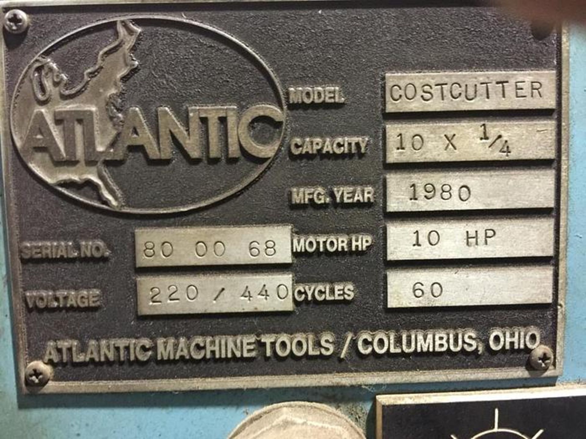 "ATLANTIC 10' X 1/4"" COST CUTTER HYDRAULIC POWER SQUARING SHEAR, SN 80-00-68 - Image 5 of 5"