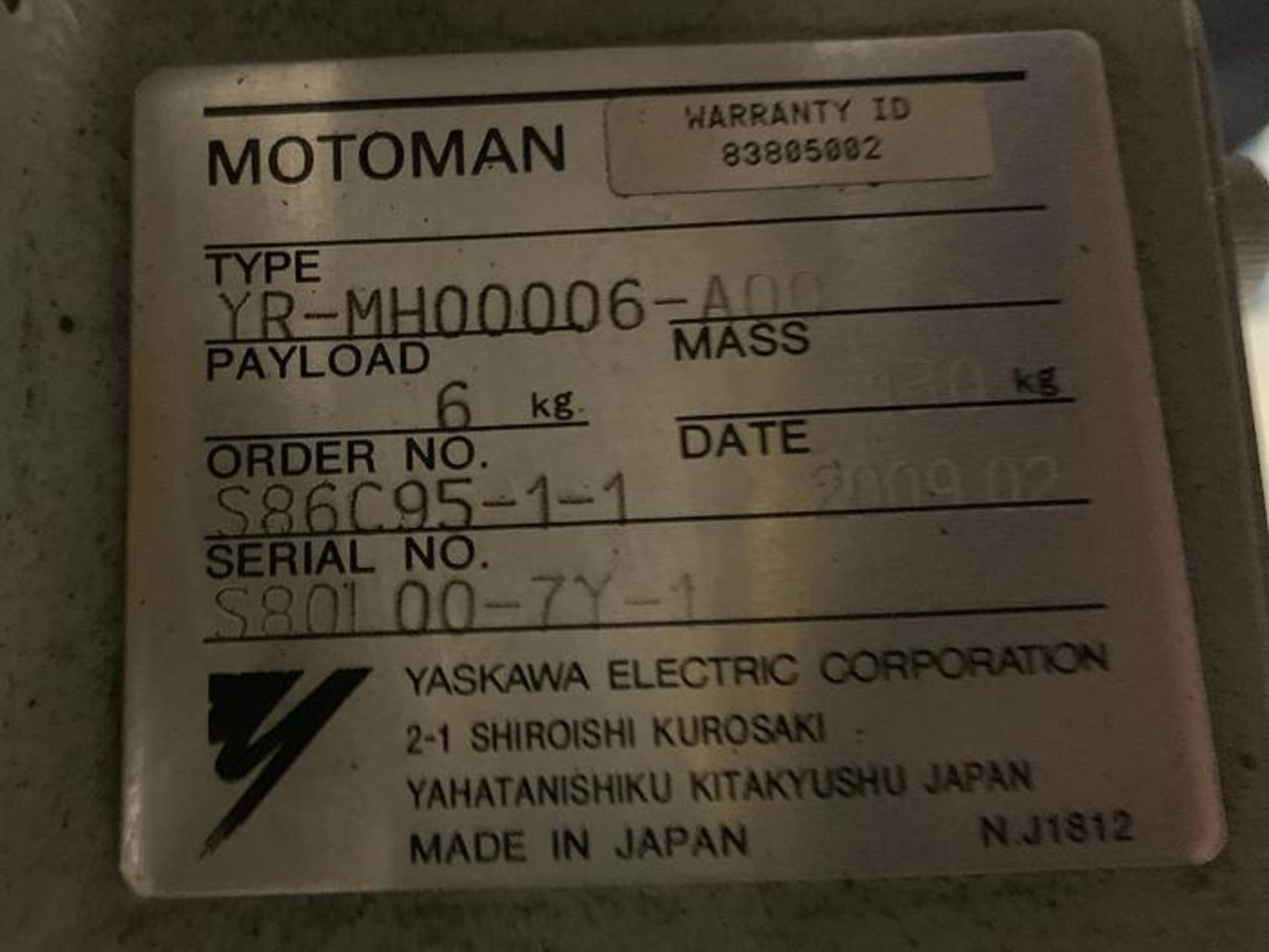 MOTOMAN ROBOT MH6 HIGH SPEED 6 AXIS ROBOT WITH DX100 CONTROLLER, CABLES & TEACH, SN S86C95-1-1 - Image 7 of 8