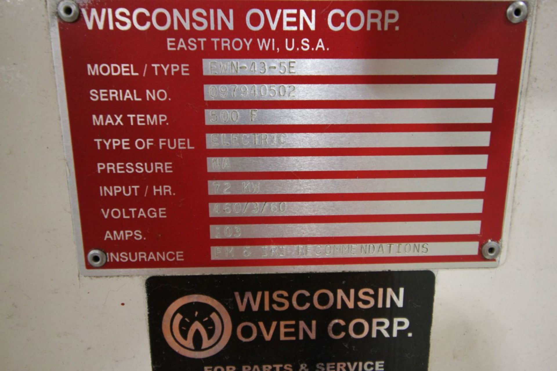 2- WISCONSIN OVEN CORP MODEL EWN-43-5E, BT 140094 & 140153 , 500 DEGREE OVEN - Image 6 of 6