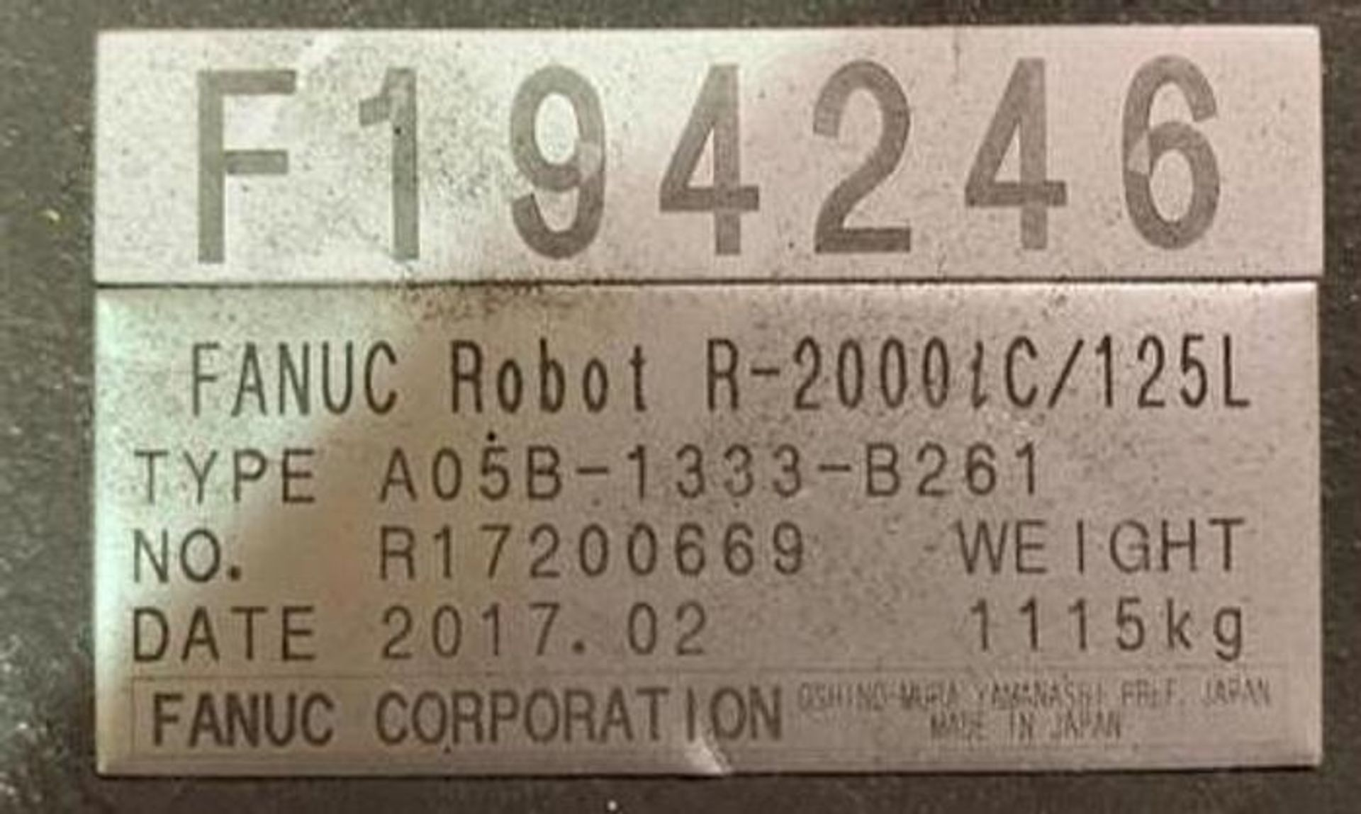 FANUC ROBOT R2000iC/125L 6 AXIS ROBOT WITH R30iB CONTROLLER, IR VISION, SN 194246, CABLES & TEACH - Image 16 of 19