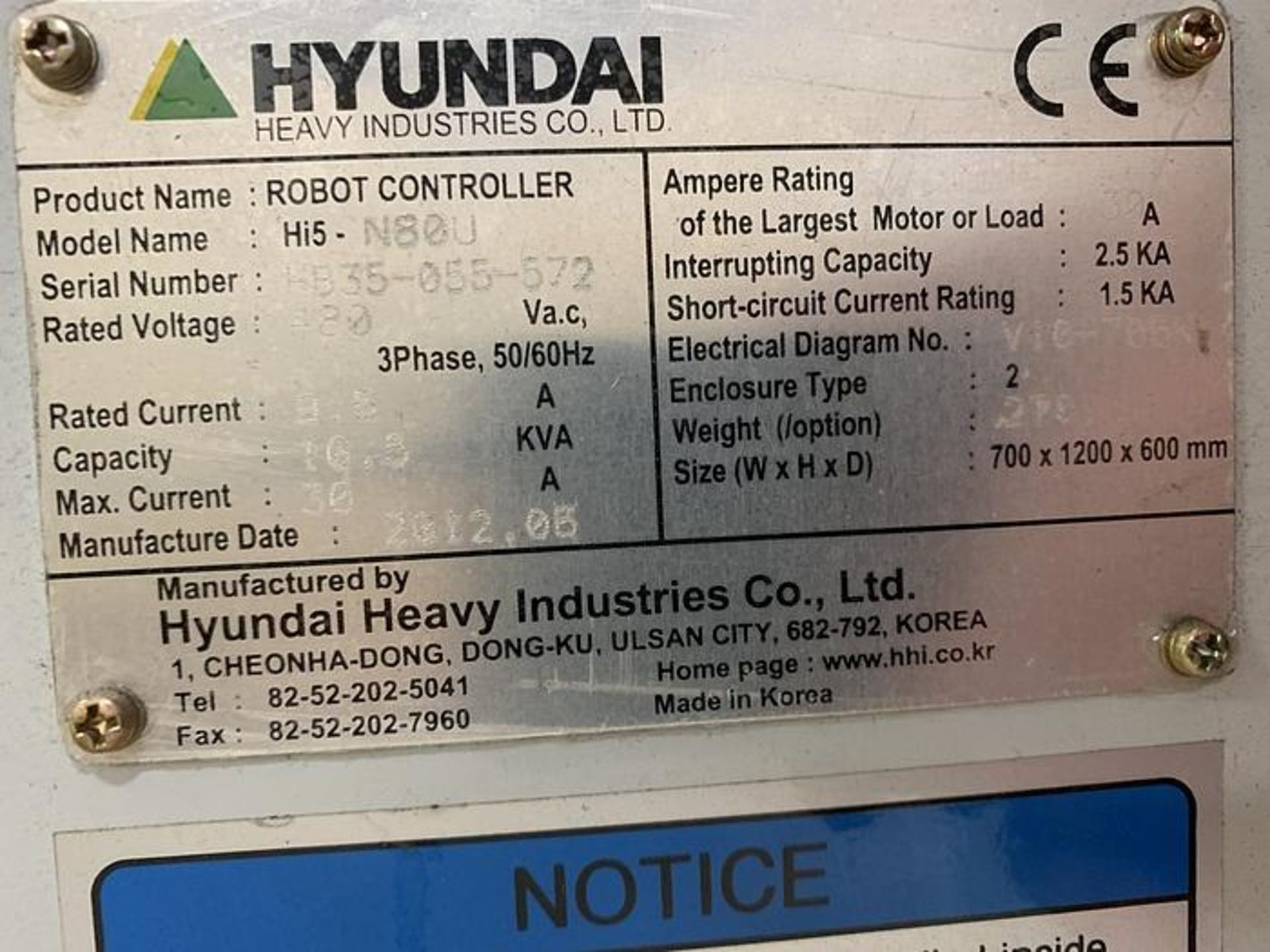 HYUNDIA MODEL HX400 400KG X 2573MM H REACH WITH Hi5-N80U CONTROLLER 6 AXIS CNC ROBOT, YEAR 2012 - Image 16 of 19