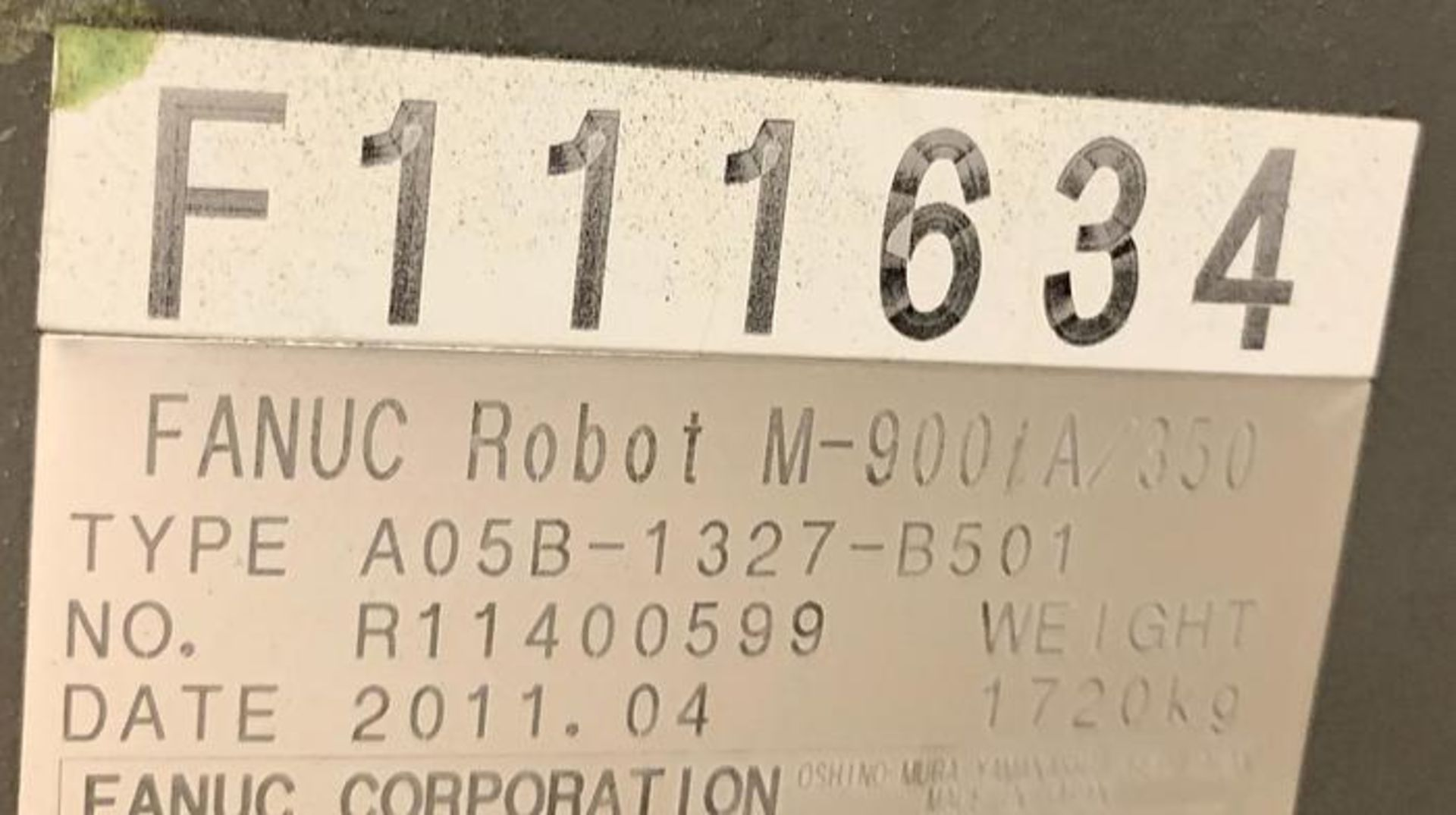 FANUC M900iA/350 6 AXIS ROBOT WITH R30iA CONTROLLER MACHINE, CABLES & TEACH SN F111634, YEAR 2011 - Image 11 of 13