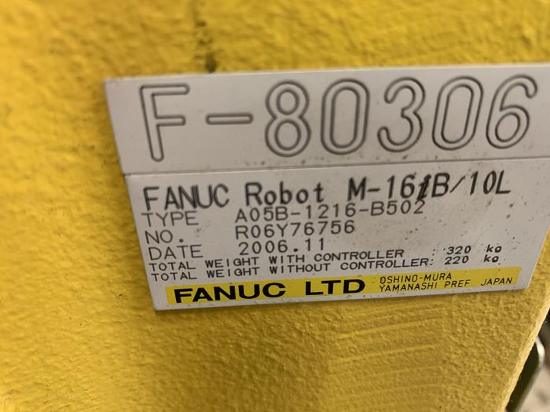 FANUC ROBOT M16iB/10L WITH RJ3iC (R30iA) CONTROLLER, TEACH & CABLES, YEAR 2006, SN 80306 - Image 17 of 17