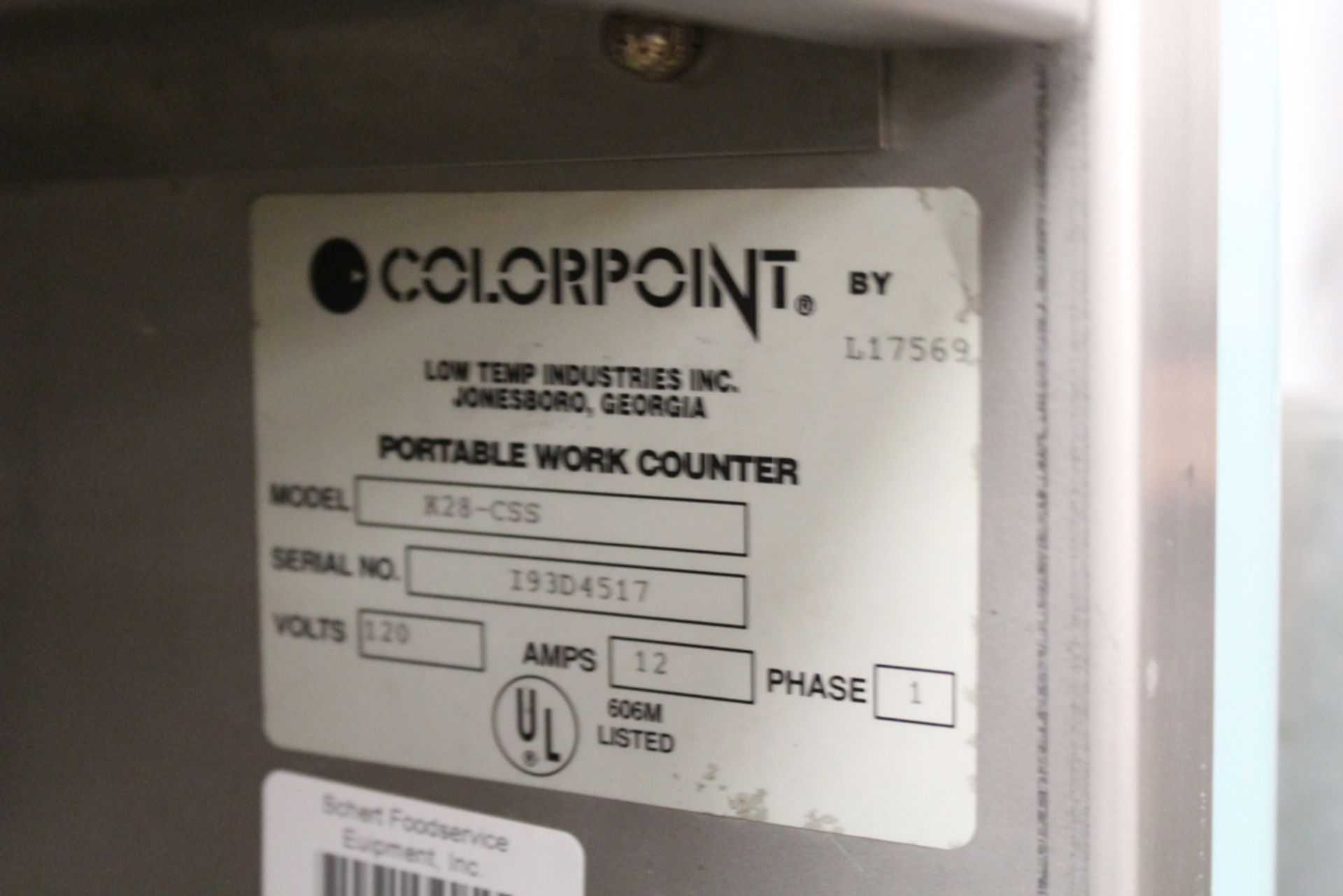 Lot 54 - colorpoint model K28-CSS portable work counter