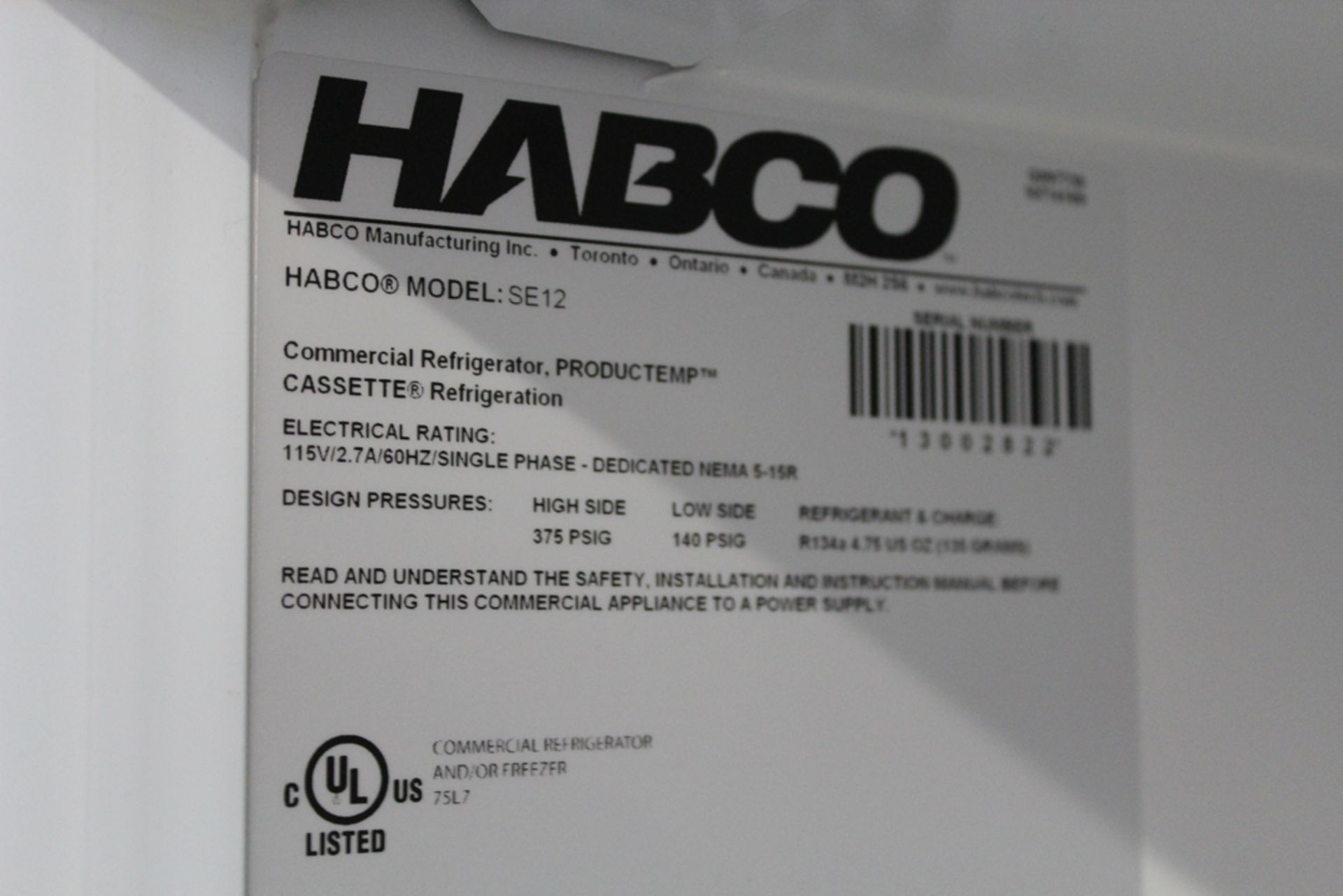 Lot 10 - Habco model SE-12 Year 2016