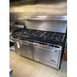 "Outstanding South Bend 60"" 10 natural gas burner w/2 ovens and splash back"