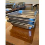 """(4) approx 3"""" deep 10x12 stainless Inserts"""