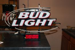 Bud Light lighted sign the top fluorescent does not work clock does