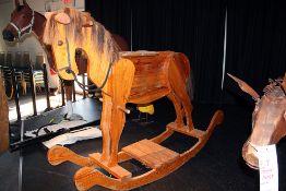 5 1/2' longx5' Tall oak and pine rocking horse