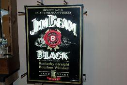 "Super Jim Bean Black Lighted sign works 18x24"""