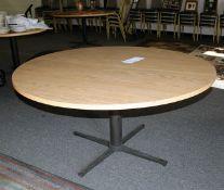 "60 "" Oak Formica Top Pedestal Round Table"