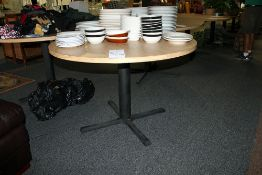 "48"" Oak Formica Top Pedestal Round Table"