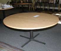 "60'""Oak Formica top Pedestal Round Table"
