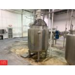 560 ± Gallon Hinged-Lid Dish-Bottom Jacketed S/S Mix Tank with Vertical Agitator Rigging: $1000