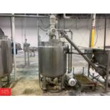 400 ± Gallon Hinged-Lid Dish-Bottom Jacketed S/S Mix Tank With Vertical Agitator Rigging: $1000