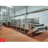 """S/S Pasteurizing Tunnel, with (3) 20'L, 60""""Wide S/S Conveyor Belts , (1) 45'L, 60""""Wide S/S"""