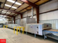APV Baker Oven Model 0438 : SN 40002680, 90' Length, with NEW Belting and 3-Door Control Cabinet