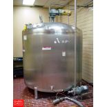 APV 1,500 GALLON Dome-Top Flat-Bottom S/S Tank,: SN F-1472, with Vertical Wide-Sweep Agitation, 2-