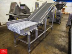 "Leblanc Stainless Steel Plastic Belt Incline Conveyor, 20"" W X 9' L, 3' infeed, 68"" discharge, 230"