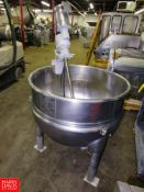 """Hamilton 100 Gallon Stainless Steel Kettle, 1/2 jacketed, 36"""" Dia. X 30"""" D with mixer, 1 1/2"""" bottom"""
