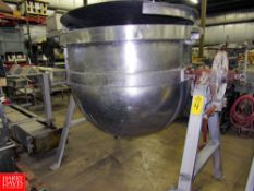 """Stainless Steel Kettle, 1/2 jacketed, 54"""" Dia. X 40"""" D with mixer, hand crank to empty Rigging"""