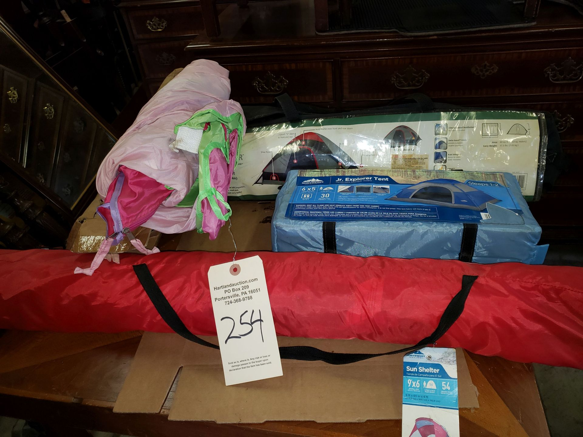 Lot 254 - 3 TENTS AND NEW SUN SHELTER