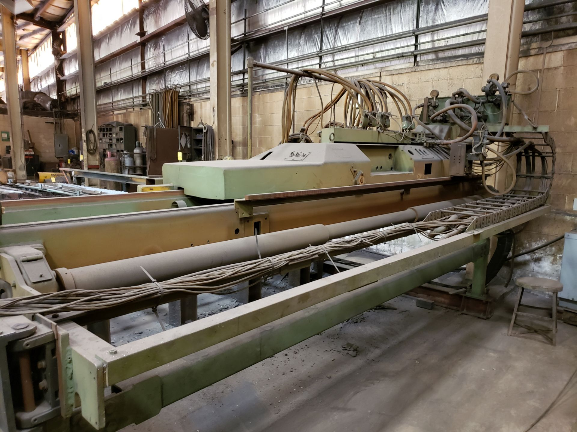 """Lot 1023 - TORCH CUTTING TABLE WITH BURNY 3 CNC CONTROL 25' total travel, 11'4"""" between rails"""