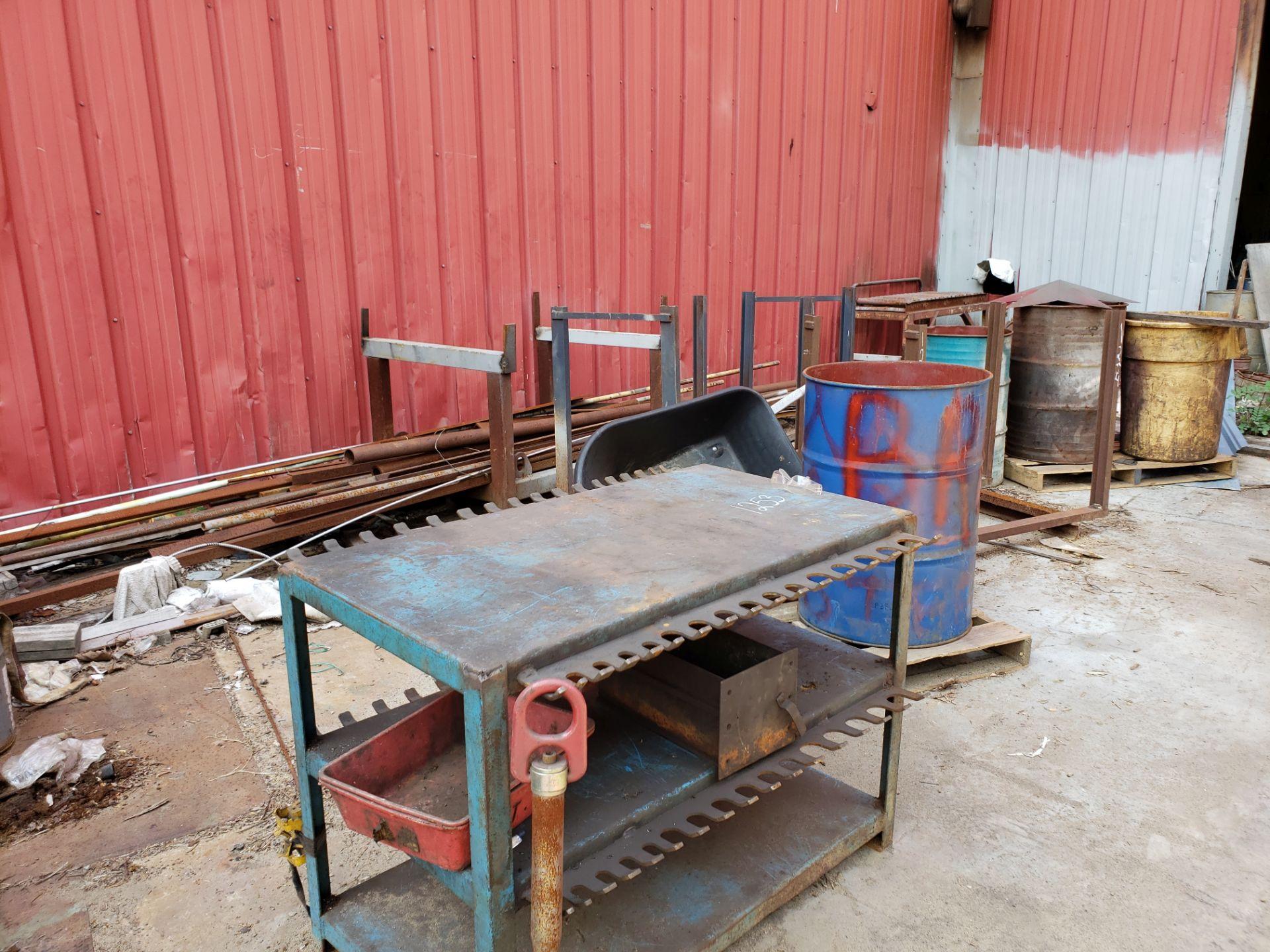 Lot 1254 - BLUE METAL TABLE, MISC. METALS, NO OXYGEN TANKS