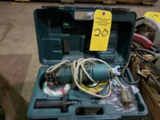 HITACHI RIGHT ANGLE GRINDER IN CASE, WITH NEW WHEELS