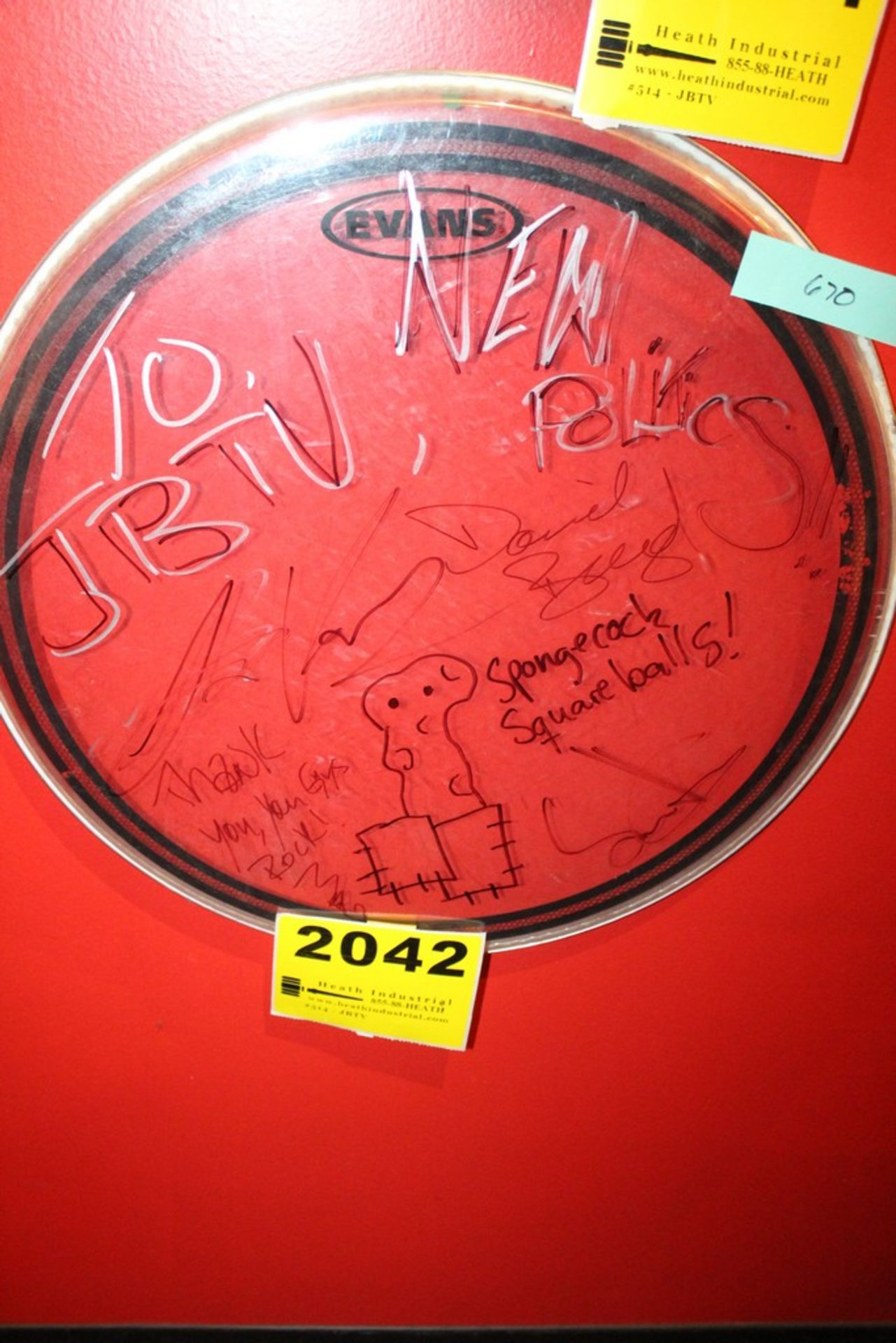 Lot 2042 - New Politics Signed Drum Head