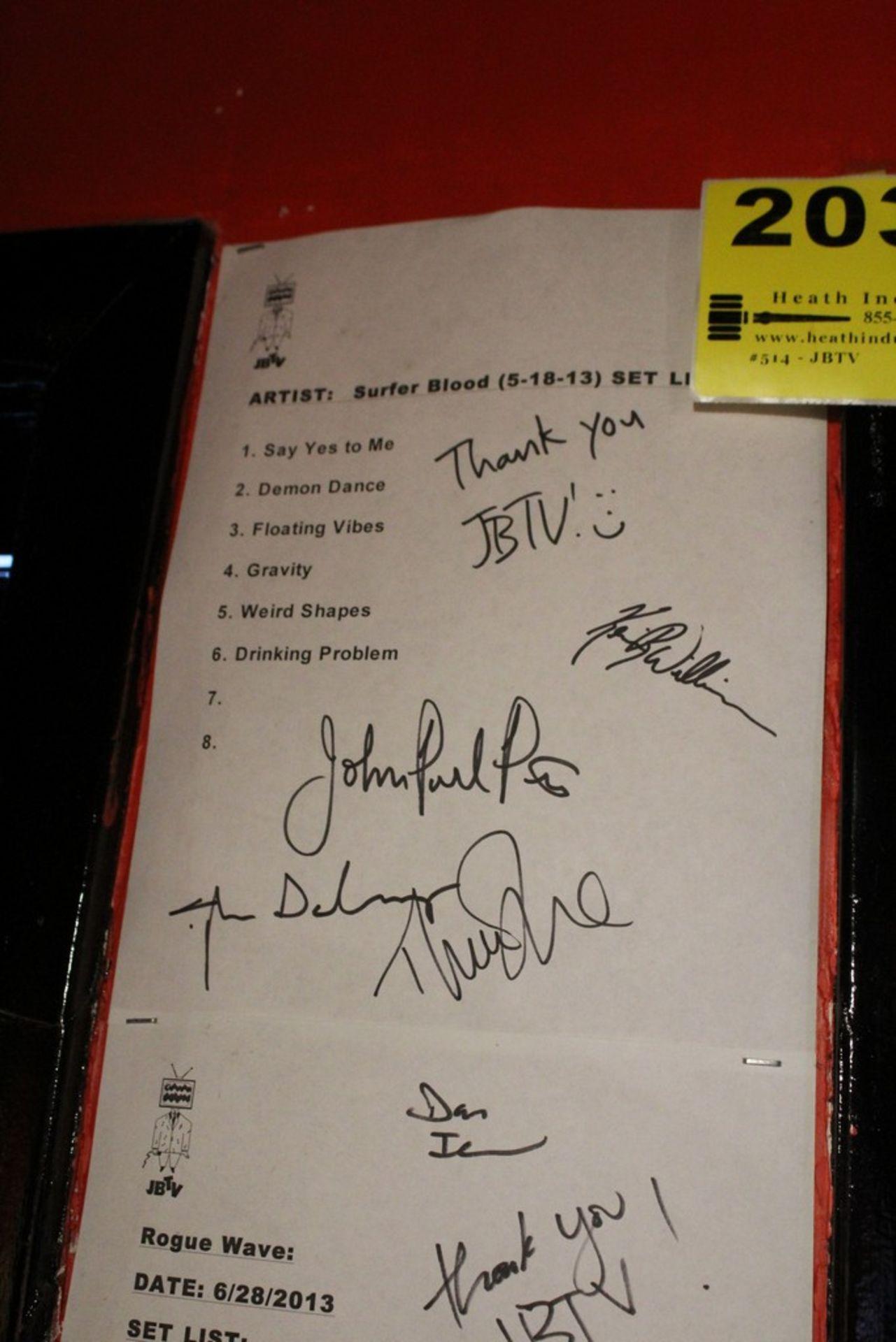 Lot 2032 - Surfer Blood Signed JBTV Signed Set List