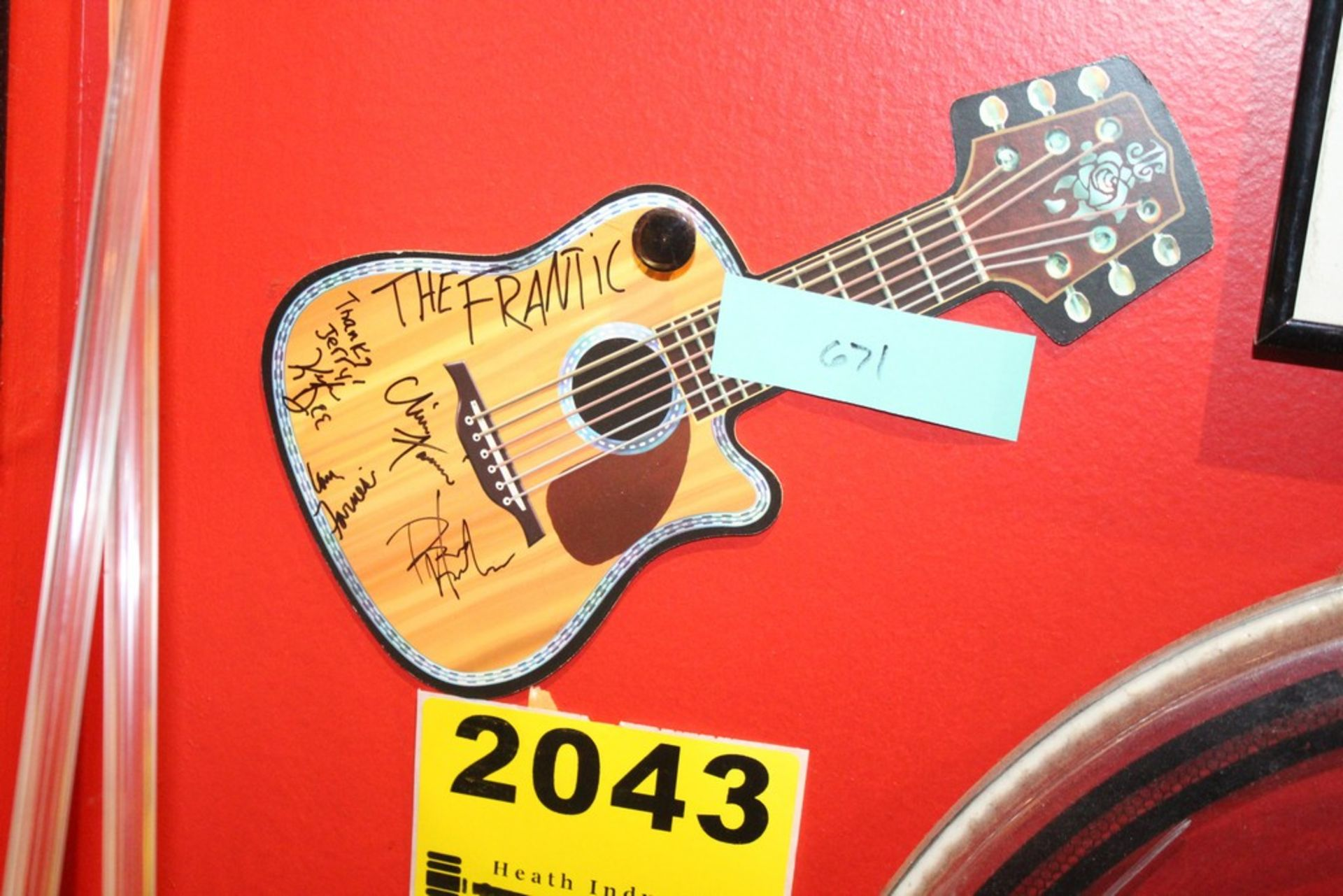 Lot 2043 - The Frantic Signed Postcard Guitar Shaped